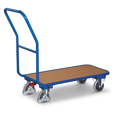 Chariot compact à plateau bois et frein central##Compacte plateauwagen met centrale voetrem