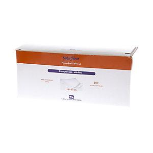 Compresses de gaze stériles Esculape 5 x 5 cm pliées ou 20 x 20 cm dépliées, boîte de 100 sachets individuels