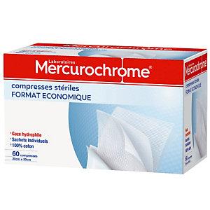 Compresses stériles Mercurochrome 20 x 20 cm, 2 boîtes de 60 compresses