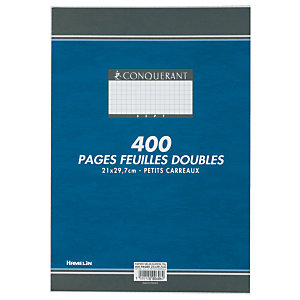 Conquerant sept 400 pages de copies doubles 5x5 A4 (210 x 297 mm) Blanc 90g/m², non perforées