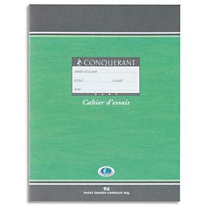 Conquerant sept Cahier de brouillon 17x22 cm, 48 pages 56 g/m²  grands carreaux Seyès, couverture en carte 90 g/m²  avec tables de multiplication