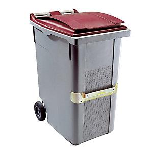 Container 2 wielen SULO met centrale handgreep 360 L grijs/ rood