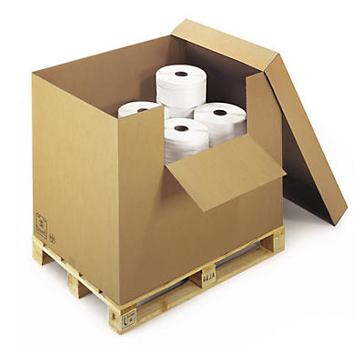 Container carton avec abattant et coiffe##Wellpapp-Container mit Deckel und Ladeklappe