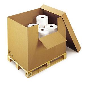 Container carton brun avec abattant, coiffe avec fond à rabats 118x78x90 cm, lot de 2.