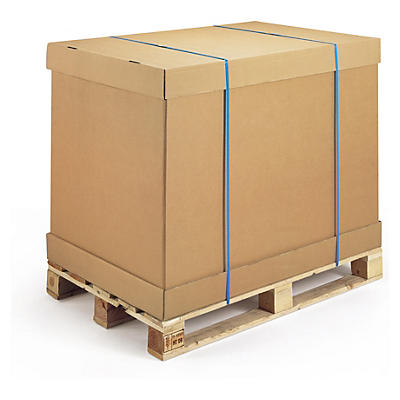 Container modulable##Brauner Wellpapp-Container mit separatem Boden und Deckel