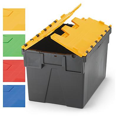 Contenedor de plástico norma Europa con tapas de color