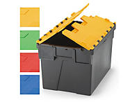 Contenedor de plástico reciclado con tapas de color
