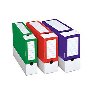 Contenitore archivio, Cartone ondulato, 33,5 x 24,5 cm, Dorso 15 cm, Rosso (confezione 25 pezzi)