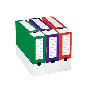 Contenitore archivio, Cartone ondulato, 33,5 x 24,5 cm, Dorso 8 cm, Rosso (confezione 25 pezzi)