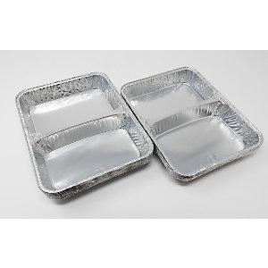 Contenitore in alluminio per alimenti a 2 scomparti, Formato R23G, 22,7 x 17,7 x 3 cm (confezione 100 pezzi)