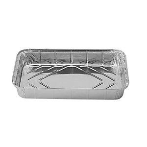 Contenitore in alluminio per alimenti con coperchio, Formato R12, 31,4 x 21,3 x 5,1 cm (confezione 50 pezzi)