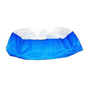 Copriscarpe monouso in TNT con suola in CPE, Bianco e azzurro (confezione 50 pezzi)