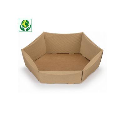Corbeille micro-cannelure brune hexagonale