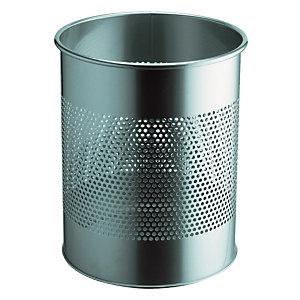 Corbeilles de bureau rondes métal 15 L Argent