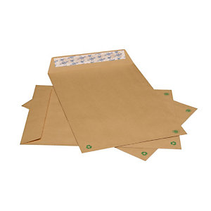 LA COURONNE Enveloppe kraft format international C4 229 x 324 mm avec fenêtre 90 g/m² fermeture autocollante avec bande protectrice kraft blond