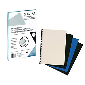Couverture de reliure transparente A4 en polypropylène 300 microns - Paquet de 100