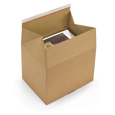 Crash-lock boxes with adhesive closure