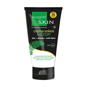 Crema solare INSTOP Incognito Skin, Insetto-repellente e UVB + UVA SPF 30, Aloe, Geranio e Stella alpina, Tubo 150 ml