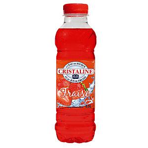CRISTALINE Eau plate aromatisée, parfum fraise - Lot de 6 bouteilles de 50 cl