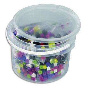 CULTURE CLUB Baril de 1000 cubes plastique 1cm 10 couleurs emboîtables, jeu de construction