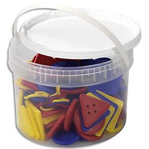 CULTURE CLUB Lot de 81 formes géométriques (5x5 cm) plastique et 27 lacets 3 coloris livrés dans un seau de rangement