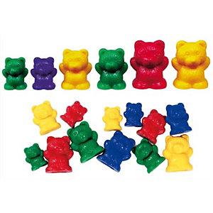 CULTURE CLUB Lot de 96 oursons à trier 3 tailles 4 couleurs livré dans un seau de rangement