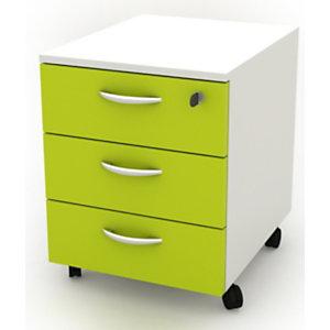 Daily Cassettiera a 3 cassetti, su ruote, 41 x 50 x 52,2 cm, Bianco/Verde