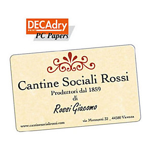 DECAdry Biglietti da visita colorati a bordo liscio angoli arrotondati - colore: pergamena champagne - 180g/mq (confezione 120 pezzi)