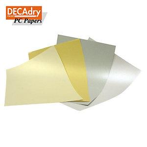 DECAdry Carta metallizzata A4 per Stampanti Laser e Inkjet, 130 g/m², Oro (confezione 20 fogli)
