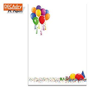 DECAdry Carta a tema A4 per Fotocopiatrici, Stampanti Laser e Inkjet, 90 g/m², Palloncini (confezione 20 fogli)
