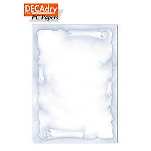 DECAdry Carta a tema A4 per Fotocopiatrici, Stampanti Laser e Inkjet, 90 g/m², Pergamena Blu (confezione 20 fogli)