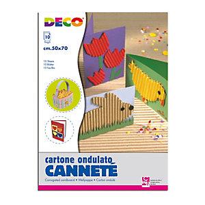 DECO Cartoncino ondulato CannetE' 2205 - 50x70cm - colori assortiti - DECO - set 10 fogli