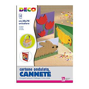 DECO Cartoncino ondulato CannetE' 2225 - 50 x 70 cm - argento metal - DECO - conf. 10 pezzi