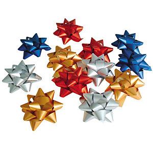 Decorazioni per pacco regalo, Stelline, Colori assortiti (confezione 12 pezzi)