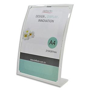 DEFLECTO Porte affiche incliné vertical A4 forme bombé Blanc - L23,3 x H31 x D9 cm