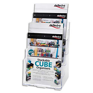 DEFLECTO Porte brochure 4 cases format A4 transparent