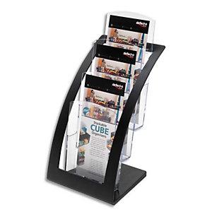 DEFLECTO Porte-brochures 3 compart. 1/3 A4 Contemporary+porte cartes L17,1xH34,9xP15,6 cm transparent