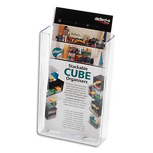 DEFLECTO Porte-brochures transparent à dos plat vertical - 1/3 A4 L11,2 x H16,5 x P4,3 cm