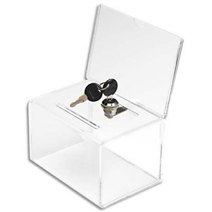 DEFLECTO Urne avec porte-visuel et serrure, insert 8,5x0,6 cm - L14,9 x H22,2 x P10,8 cm transparent