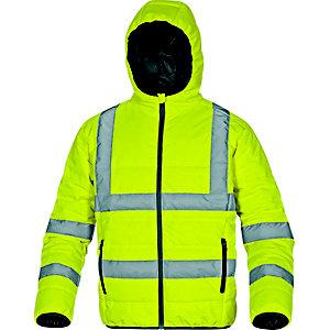 DELTA PLUS Piumino imbottito con cappuccio alta visibilità DOONHV, Giallo, Taglia XL