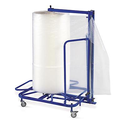 Dérouleur-coupeur vertical sur roulettes pour film bulles