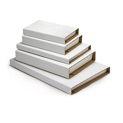 Déstockage : Étui-croix postal carton blanc Ecobook pour livres##Uitverkoop: Witte boekverpakking, met zelfklevende sluiting en beschermranden