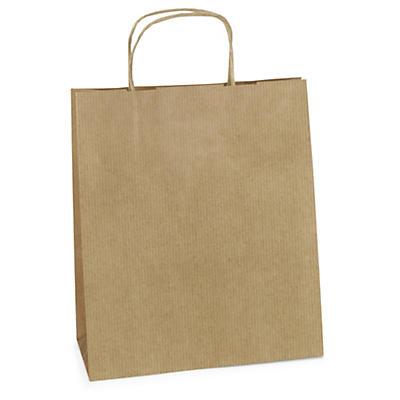 Déstockage : Sac kraft blanc et brun à poignées torsadées##Uitverkoop: draagtas bruin met gevlochten oren
