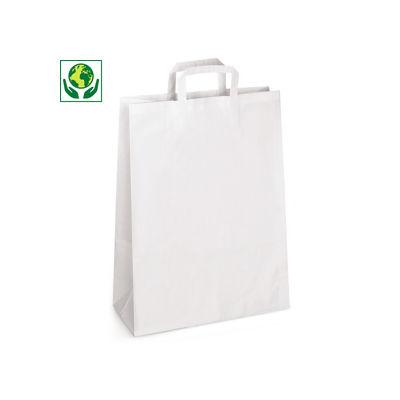 Déstockage : Sac kraft blanc à poignées plates##Uitverkoop: Witte draagtas van kraftpapier met platte oren