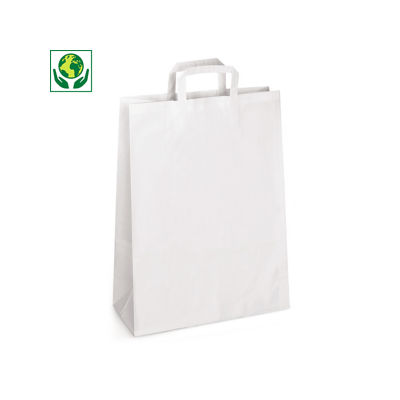 Déstockage : Sac kraft blanc à poignées plates