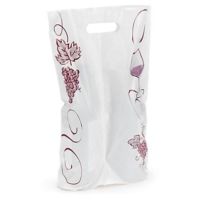 Déstockage : sac plastique pour bouteilles à motif raisins