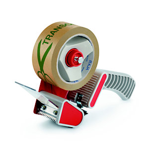 Dévidoir manuel économique pour rouleau de ruban adhésif jusqu'à 50 mm de large avec poignée pistolet - Gris et rouge