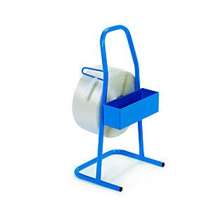 Dévidoir portable pour feuillard de cerclage textile en tube d'acier - Bleu