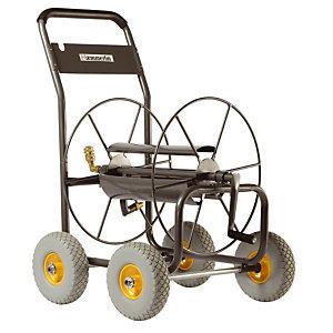 Dévidoir professionnel 4 roues pour tuyau d'arrosage 110m.