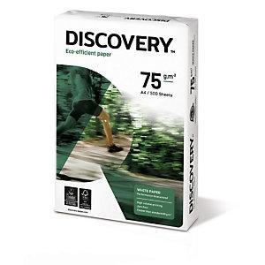 Discovery Carta multiuso A4 per Fax, Fotocopiatrici, Stampanti Laser e Inkjet, 75 g/m², Bianco (risma 500 fogli)